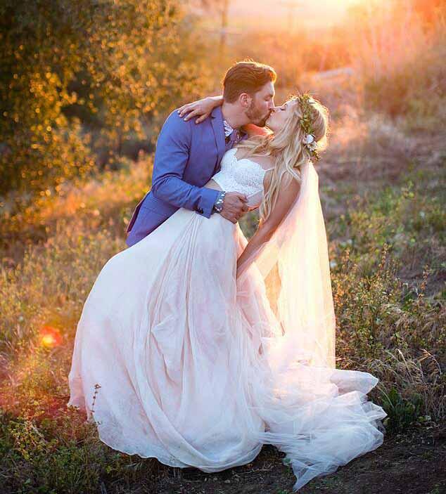 Wedding photo of Vanessa Ray and her husband, Landon Beard.